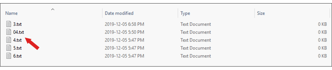 screenshot of an alphabetized list of files